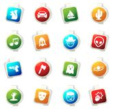 Genres of cinema icons set. Set of movie genres color icon for web sites and user interfaces Royalty Free Stock Images