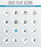 Genres of cinema icons set. Set of movie genres easy flat web icons for user interface design Royalty Free Stock Images
