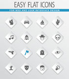 Genres of cinema icons set Stock Photo