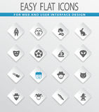Genres of cinema icons set Stock Photos