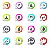 Genres of cinema icons set. Set of movie genres pointer on the color icons for your design Royalty Free Stock Photography