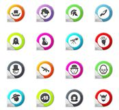 Genres of cinema icons set. Set of movie genres pointer on the color icons for your design Royalty Free Stock Photo