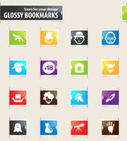 Genres of cinema icons set. Set of movie genres icons for your design glossy bookmarks Stock Image