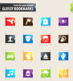 Genres of cinema icons set. Set of movie genres icons for your design glossy bookmarks Royalty Free Stock Photography