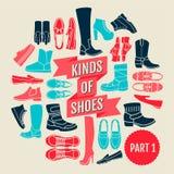 Genres de chaussures Partie 1 illustration de vecteur
