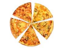 5 genres de pizza Photographie stock libre de droits