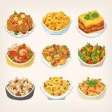 Genres de plats de pâtes Photos libres de droits