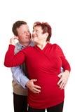 Gens aînés de poids excessif heureux Images libres de droits