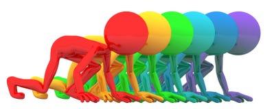 Gens colorés alignés pour le chemin Photos stock