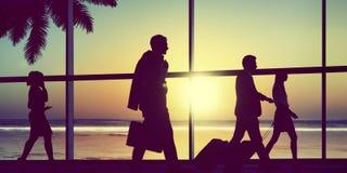 Gens d'affaires arrières d'avion de Lit de concept de déplacement d'aéroport Photos libres de droits