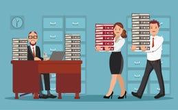 Gens d'affaires au travail avec une grande pile des dossiers et des feuilles de papier illustration libre de droits