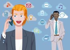 Gens d'affaires aux téléphones de Movile illustration stock