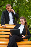 Gens d'affaires avec l'ordinateur portatif Photos libres de droits