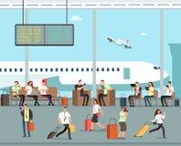 Gens d'affaires avec le bagage au concept de voyage de vecteur d'aéroport illustration libre de droits