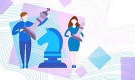 Gens d'affaires avec le nouveau développement de stratégie de succès d'échecs illustration stock