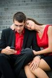 Gens d'affaires avec le smartphone Photo stock