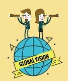 Gens d'affaires avec le télescope direction et concept global de vision Image libre de droits