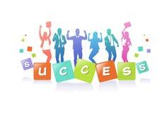 Gens d'affaires colorés de la silhouette, groupe d'homme d'affaires de diversité, concept réussi A4 d'équipe horizontal illustration stock