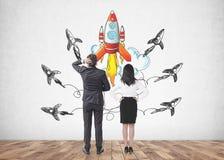 Gens d'affaires confus regardant la fusée de démarrage illustration libre de droits