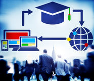 Gens d'affaires d'éducation de foule de connexion de technologie de concept de télécommunications mondiales Image libre de droits