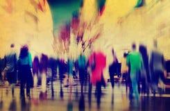 Gens d'affaires d'heure de pointe de concept de permutation de marche de ville photos stock