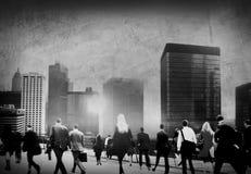 Gens d'affaires d'heure de pointe de concept de permutation de marche de ville photo libre de droits