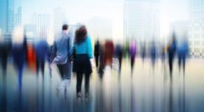 Gens d'affaires d'heure de pointe de concept de permutation de marche de ville photographie stock