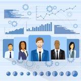 Gens d'affaires d'icône de profil au-dessus d'ensemble de graphique Photo stock