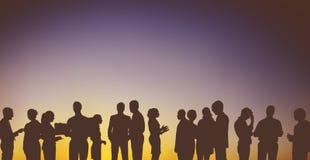 Gens d'affaires d'interaction de groupe de concept de silhouette images libres de droits