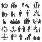 Gens d'affaires dans le travail Icônes de bureau, conférence, travail d'ordinateur Photographie stock libre de droits