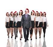 Gens d'affaires dans un chapeau de Noël Photo stock