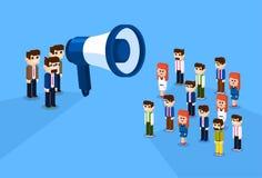 Gens d'affaires de conception isométrique de Megaphone Loudspeaker Colleagues Team Leader Group Businesspeople 3d d'homme d'affai illustration libre de droits
