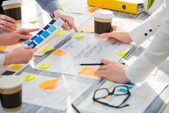 Gens d'affaires de concepts de construction d'échange d'idées de séance de réflexion image stock