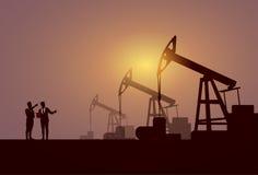 Gens d'affaires de groupe d'huile Rig Crane Platform Banner de Pumpjack Image stock