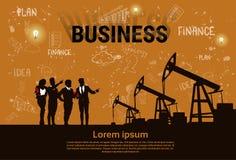 Gens d'affaires de groupe d'huile Rig Crane Platform Banner de Pumpjack Images stock