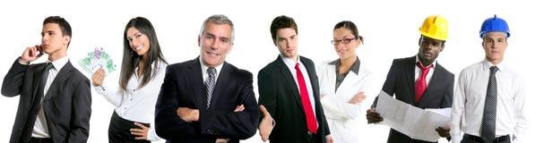 Gens d'affaires de groupe d'équipe dans une ligne isolat de ligne Photos stock