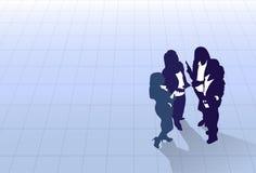 Gens d'affaires de groupe de silhouette tenant la vue d'angle supérieur, collègue Team Banner With Copy Space d'hommes d'affaires Images stock