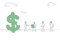 Gens d'affaires de groupe de symbole dollar Team Investment Together Concept de construction Image libre de droits