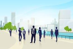 Gens d'affaires de groupe de ville de bureau de paysage Image libre de droits