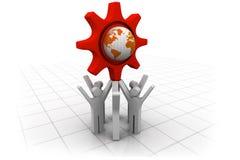 gens d'affaires de l'équipe 3d avec le globe Photo libre de droits