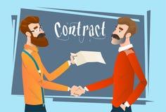 Gens d'affaires de poignée de main d'accord de signature de réunion, contrat de secousse de main d'hommes d'affaires illustration de vecteur