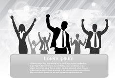 Gens d'affaires de prise excitée par silhouette de groupe illustration libre de droits