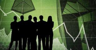 Gens d'affaires de silhouettes contre l'interface d'affaires Image stock