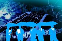 Gens d'affaires de silhouettes contre l'interface d'affaires Photographie stock