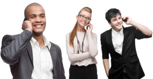 Gens d'affaires de sourire heureux appelant par téléphone mobile Photo libre de droits