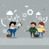 Gens d'affaires de Team Leader de collègues de Hold Megaphone Loudspeaker de patron d'homme d'affaires illustration stock
