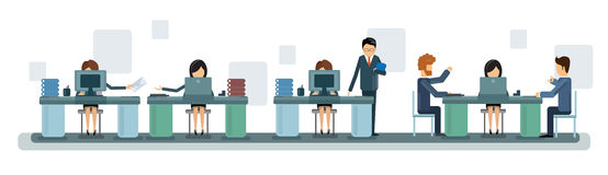 Gens d'affaires de Team Work Desktop Computer Banner illustration stock