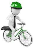 gens d'affaires du blanc 3D. Vélo à fonctionner Photographie stock