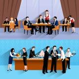 Gens d'affaires du déjeuner 2 de composition en bannières illustration stock
