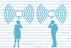 Gens d'affaires du smartphone G4 WiFi de réseau de social illustration stock